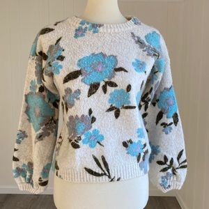 Kimchi Blue Floral Balloon-Sleeve Pullover Sweater